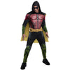 Robin ARKHAM KNIGHT Men's Deluxe Batman Costume T-Shirt w/ Hooded Cape And Mask-Cyberteez