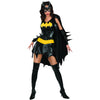 Batgirl Costume Dress w/ Cape Women's Black Batman Outfit-Cyberteez