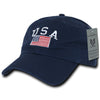 RapDom USA American Flag Polo Style Navy Relaxed Fit Adjustable Baseball Cap-Cyberteez