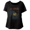 Def Leppard Pyromania Women's Wide Scoop Dolman T-Shirt-Cyberteez