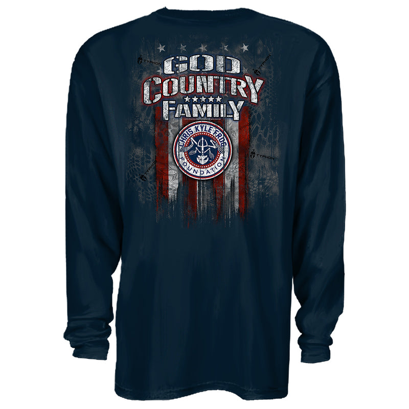 Chris Kyle Frog Foundation God Country Family Navy LONGSLEEVE American  Sniper T-Shirt