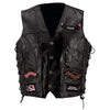 Biker Vest Lace-Up Buffalo Leather Motorcycle USA Flag Eagle w/ 14 Patches-Cyberteez