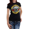 Guns N Roses Bullet Seal Logo Women's Distressed T-Shirt-Cyberteez