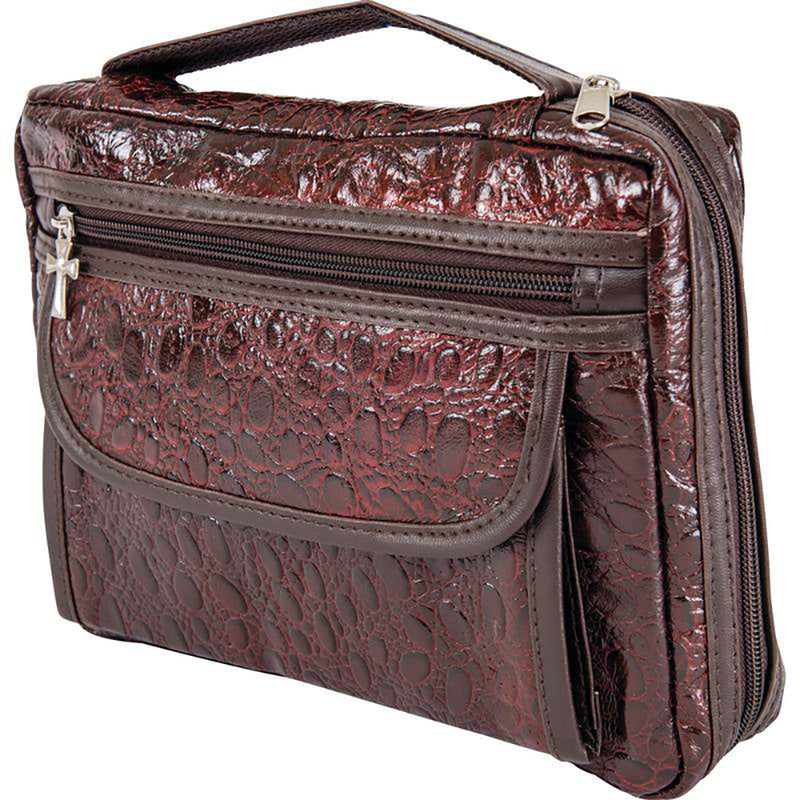 07f350727b Bible Cover Burgundy Faux Alligator Protective Holy Book Tote Carry Case Bag -Cyberteez