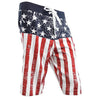 USA American Flag Men's DISTRESSED Board Shorts Patriotic Swim Trunks (S-3XL)-Cyberteez