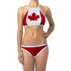 Canada Flag Women's Sport Bikini Halter Top Swimsuit-Cyberteez