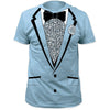 Tuxedo Blue Retro Prom Costume T-Shirt (S-3XL)-Cyberteez