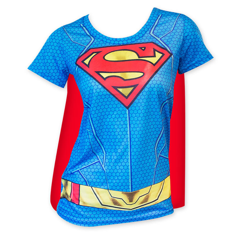 d0776e1fb8b Supergirl Logo Women s Sublimated Superman Costume T-Shirt w  Red Cape -  Cyberteez