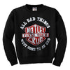 Motley Crue All Bad Things CRUENECK Crewneck Sweatshirt-Cyberteez