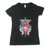 Bon Jovi Heart And Dagger Logo V-Neck Women's T-Shirt-Cyberteez