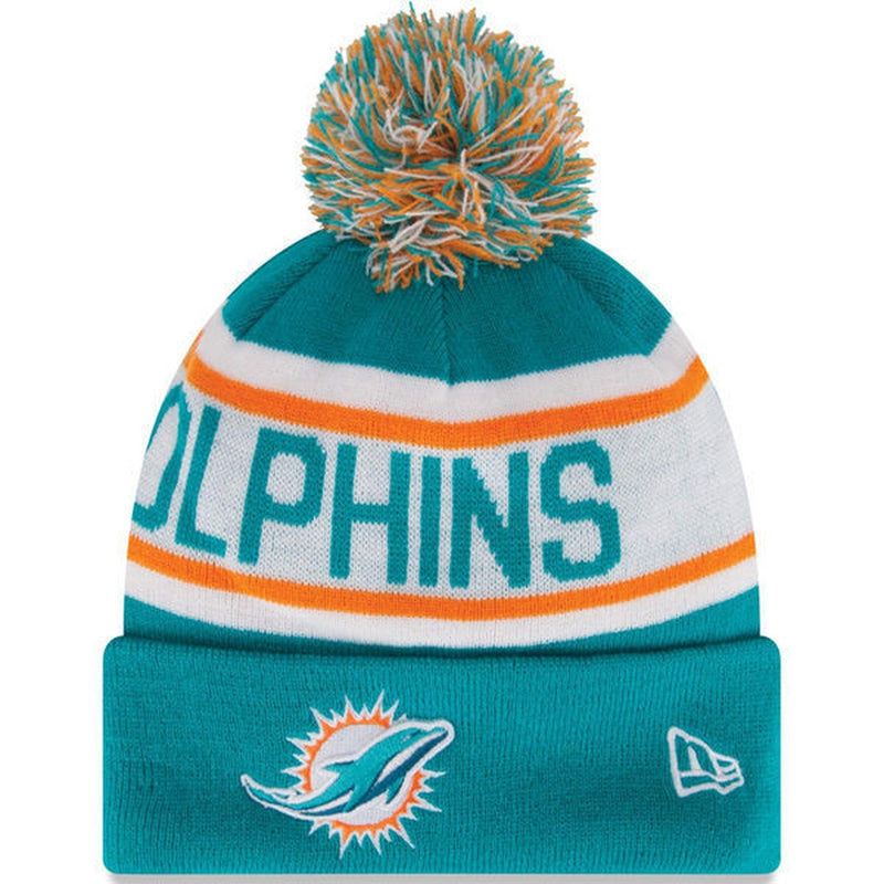 Miami Dolphins NFL New Era Biggest Fan Redux Pom Beanie Knit Hat-Cyberteez 80b985288