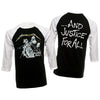 Metallica And Justice For All Raglan 3/4 Sleeve Jersey T-Shirt-Cyberteez