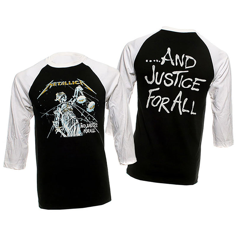 fc59de72 Metallica And Justice For All Raglan 3/4 Sleeve Jersey T-Shirt-Cyberteez