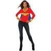Wonder Woman Logo LONGSLEEVE w/ Cape V-Neck Women's Costume T-Shirt-Cyberteez