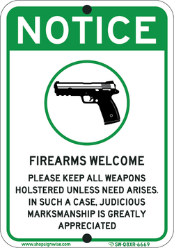 Novelty Firearms Welcome - ParkingSignWarehouse