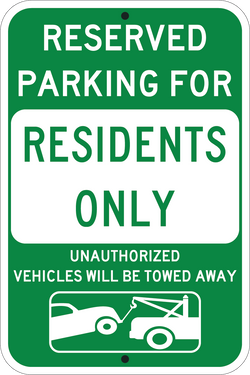 Residents Only Parking Green - ParkingSignWarehouse