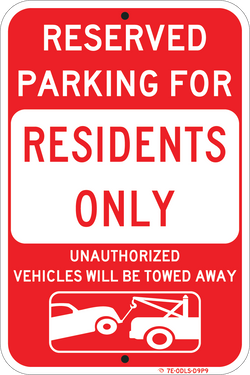 Residents Only Parking Red - ParkingSignWarehouse