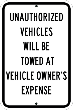 Unauthorized Vehicles Will Be Towed Black - ParkingSignWarehouse