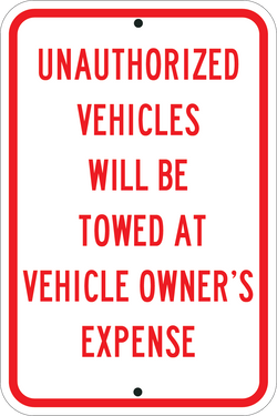 Unauthorized Vehicles Will Be Towed Red - ParkingSignWarehouse