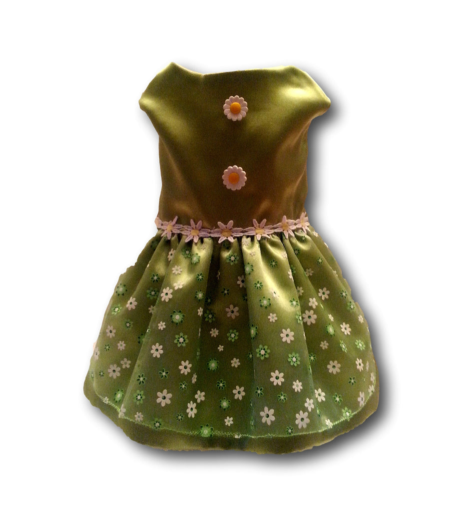 Green Satin with Daisy's - Chic Doggie Boutique  - 1