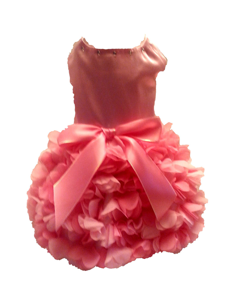 Pink Satin with Ruffled Skirt - Chic Doggie Boutique  - 1