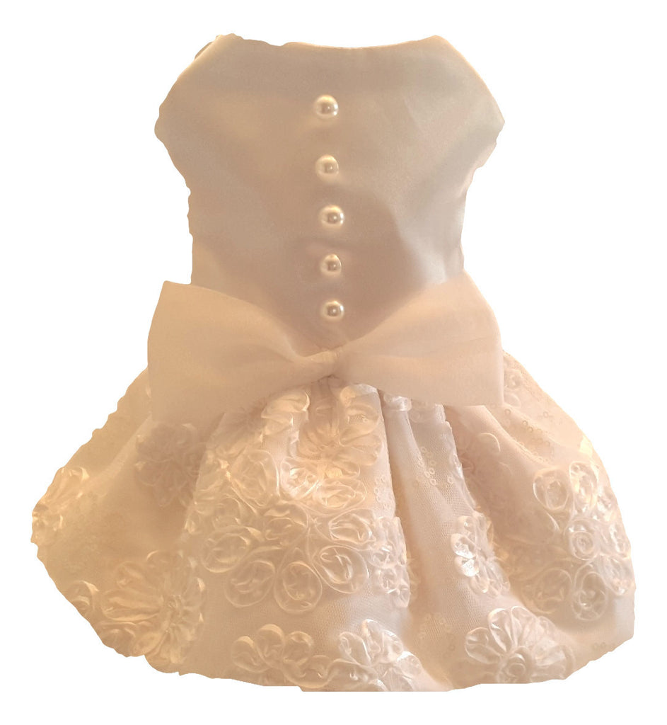 White Satin and Lace Wedding Dress - Chic Doggie Boutique  - 1