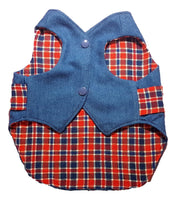 Denim and Red Plaid Waistcoat Vest - Chic Doggie Boutique  - 1