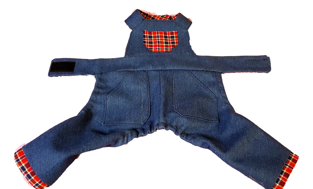 Denim Overalls with Red Plaid Cuffs and Trim - Chic Doggie Boutique  - 2