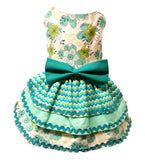 Aqua and Green with Triple Layered Skirt - Chic Doggie Boutique  - 1