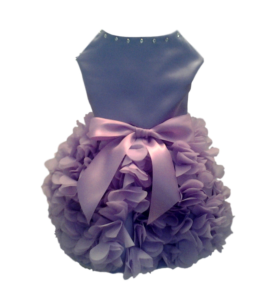 Lilac Satin with Heart Ruffled Skirt - Chic Doggie Boutique  - 2