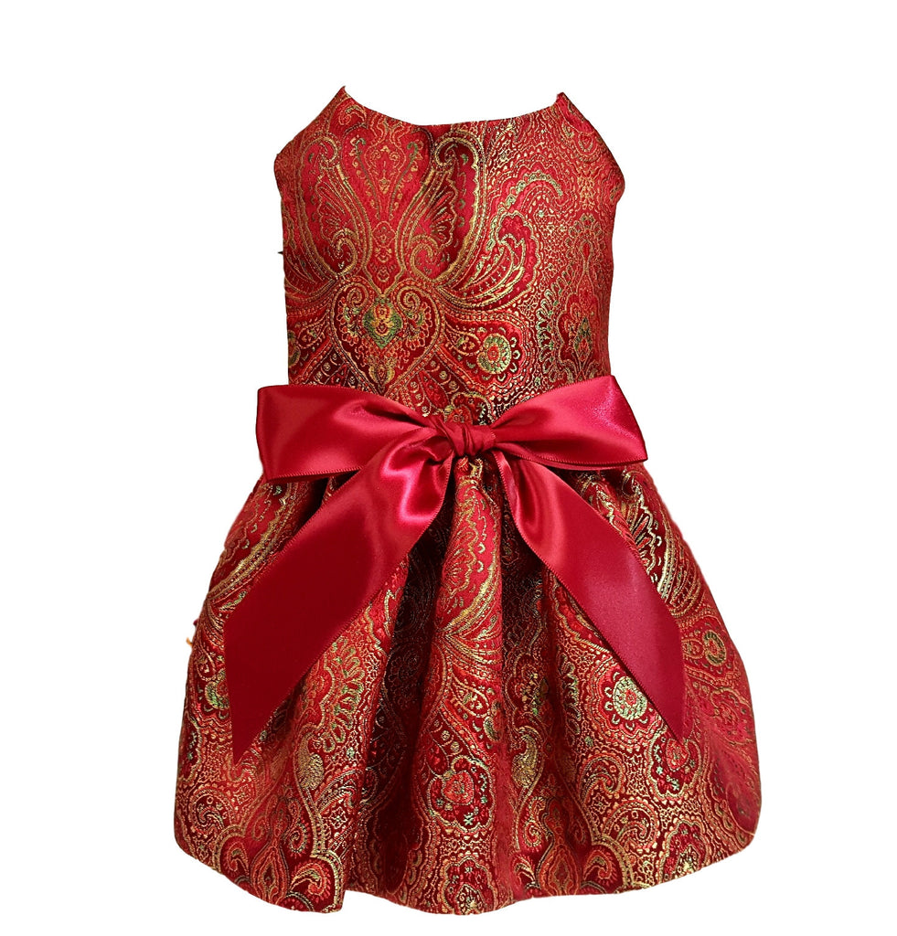 Burgandy Brocade Satin - Chic Doggie Boutique  - 1