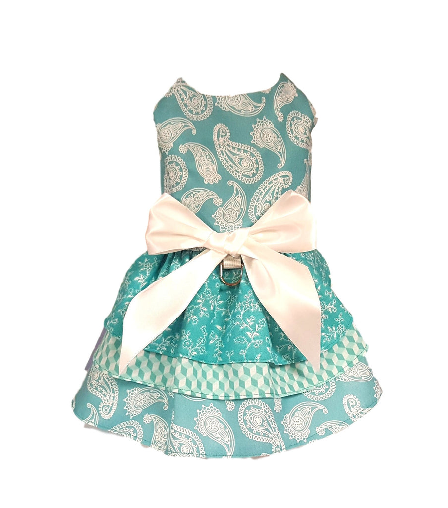 Blue and White Paisley Dress - Chic Doggie Boutique  - 1