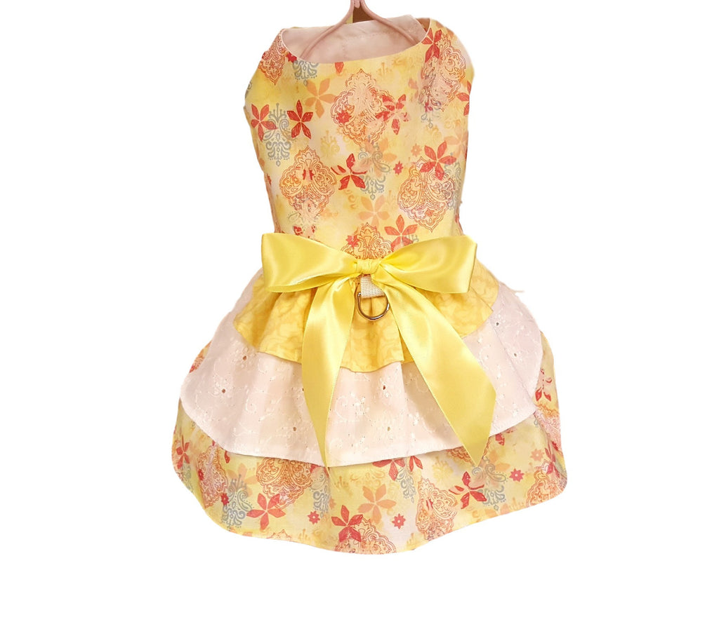 Yellow and Eyelet with Triple Layered Skirt - Chic Doggie Boutique  - 1