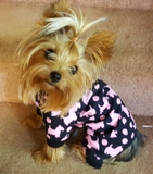 Dog Pajamas, Black with Pink Puppy Print - Chic Doggie Boutique  - 1