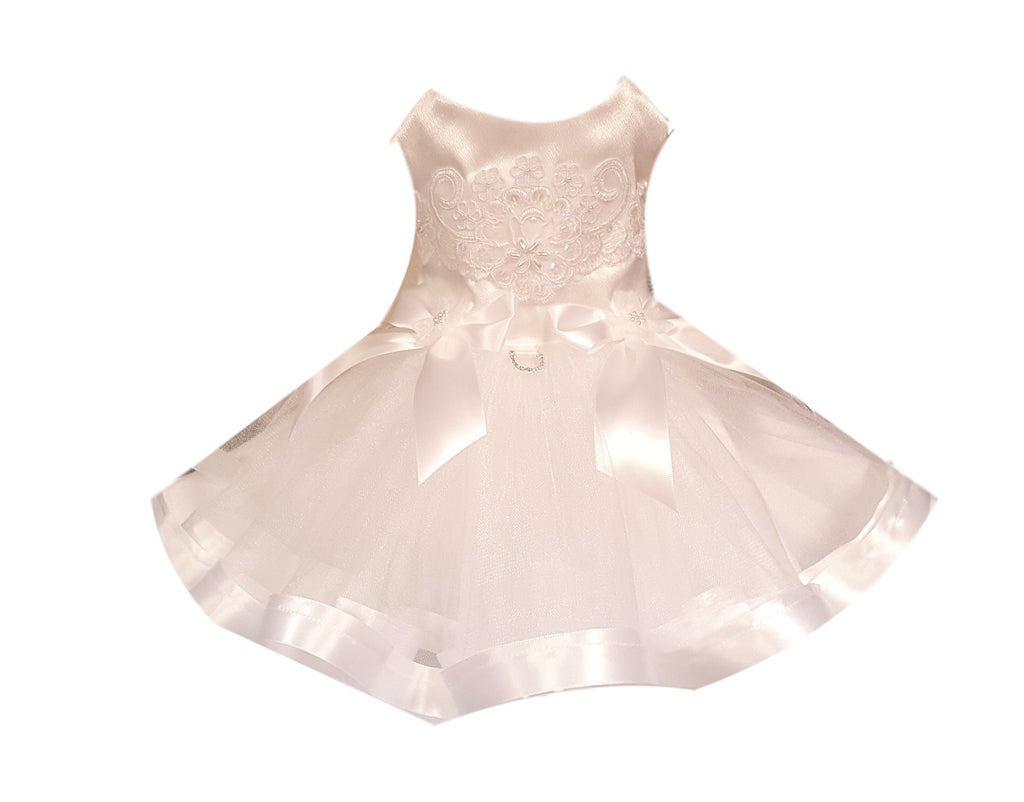 Dog Wedding Dress, White Satin with Full Tutu - Chic Doggie Boutique  - 1