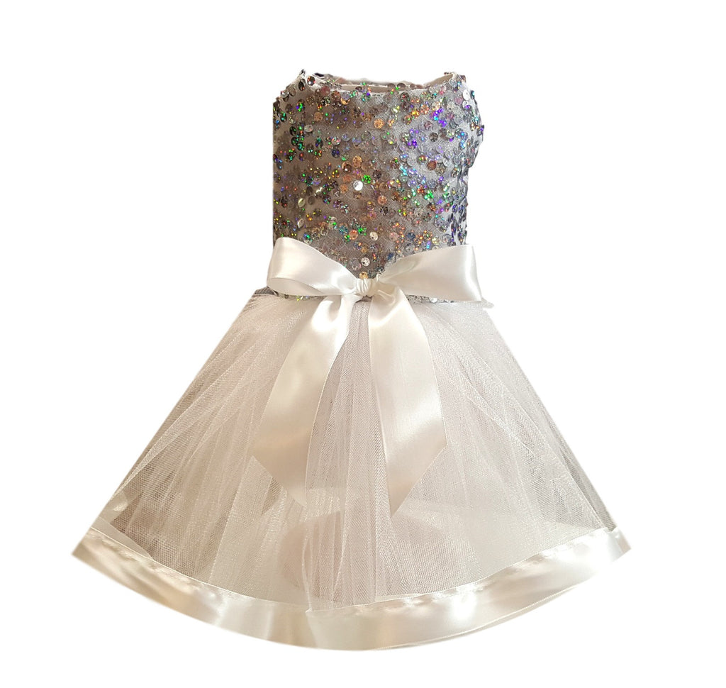 Dog Wedding Dress, Silver Sequins with White Full Tutu - Chic Doggie Boutique  - 1