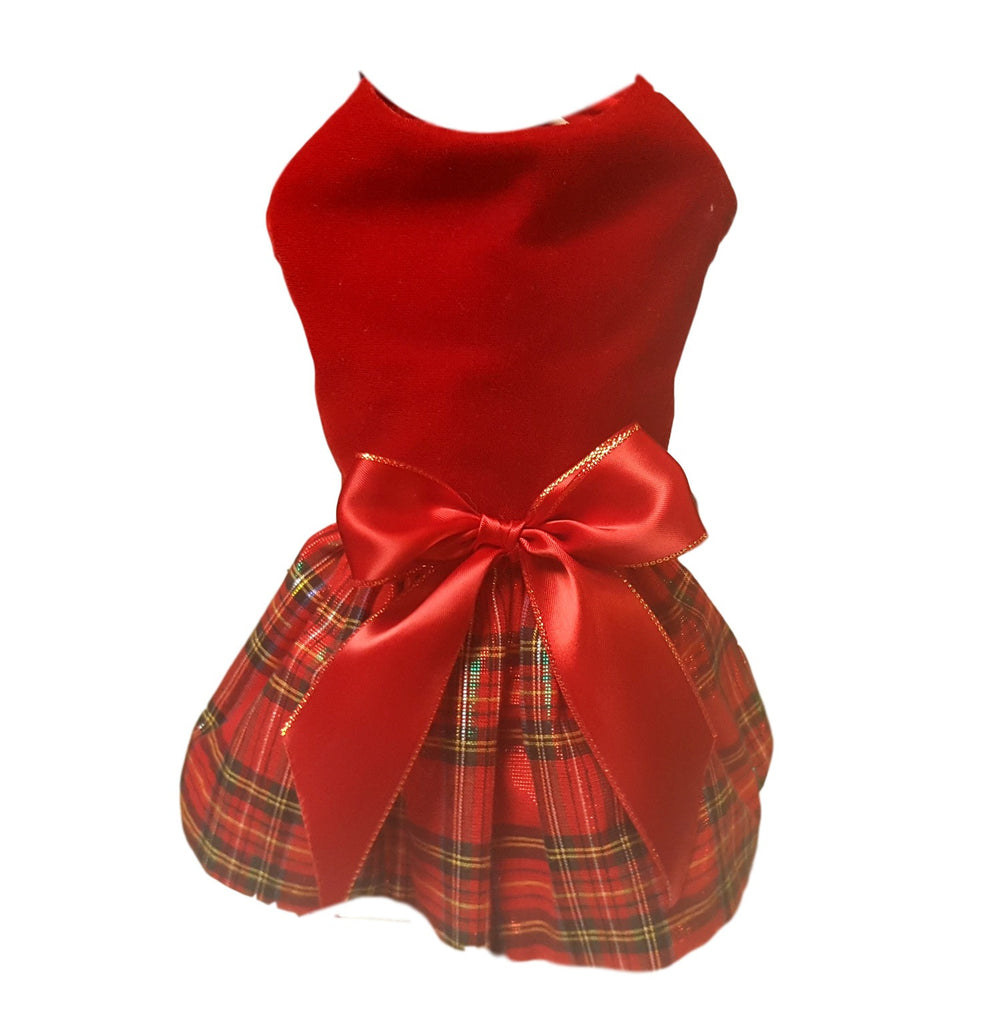 Red Velvet Christmas Dress - Chic Doggie Boutique  - 1