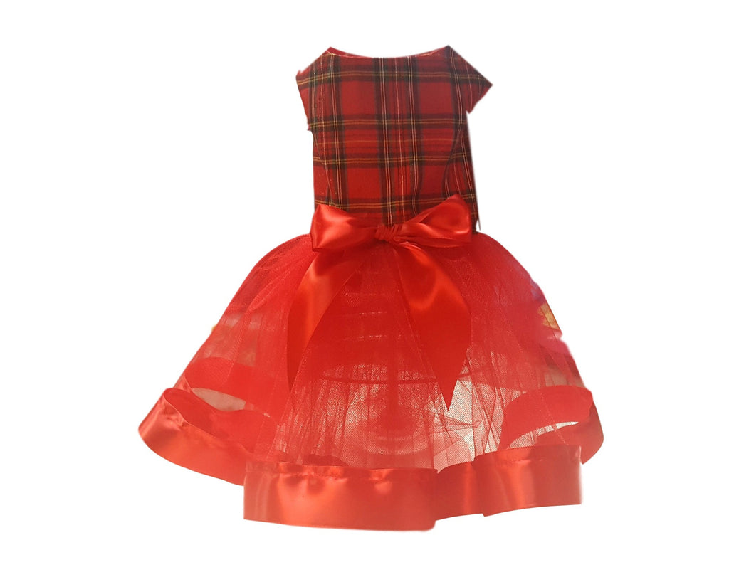 Red and Green Plaid Christmas Dress - Chic Doggie Boutique  - 1