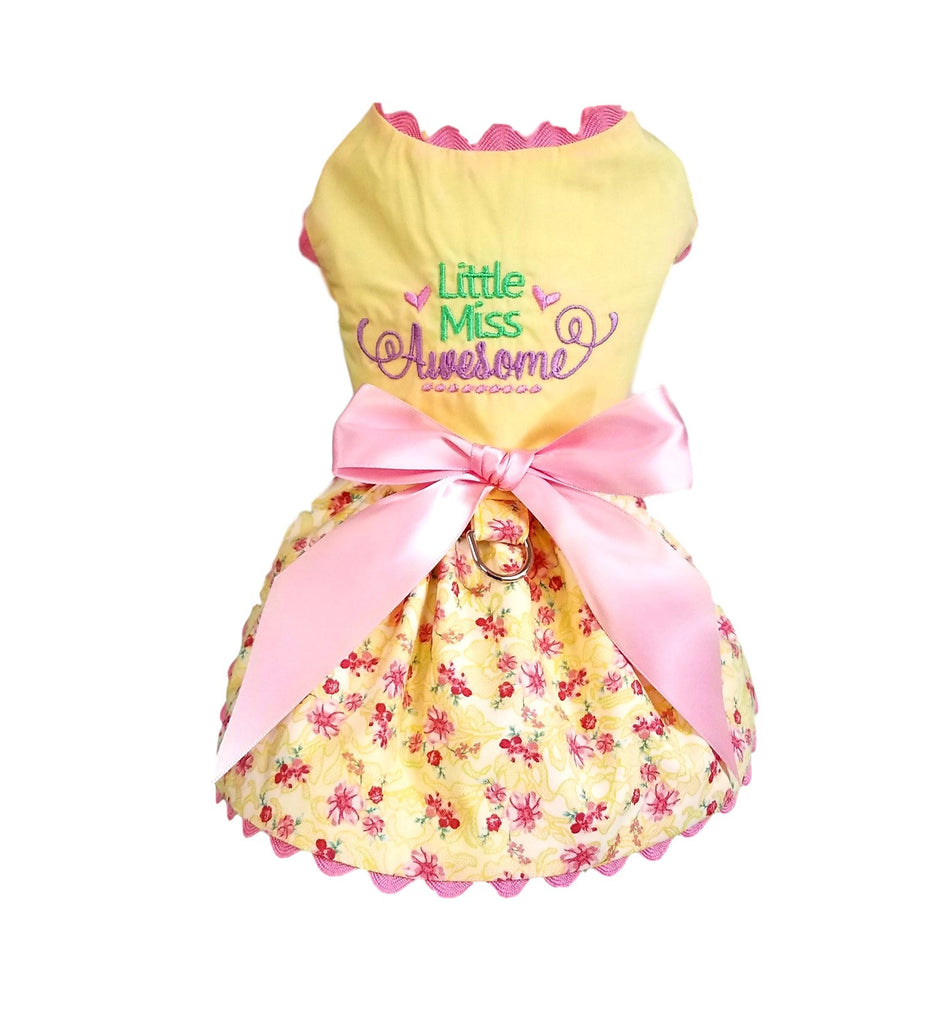 Little Miss Awesome Embroidered Dress - Chic Doggie Boutique  - 1
