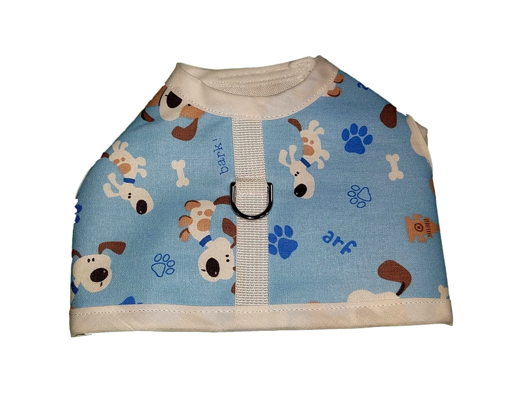 Light Blue Puppy Print Harness