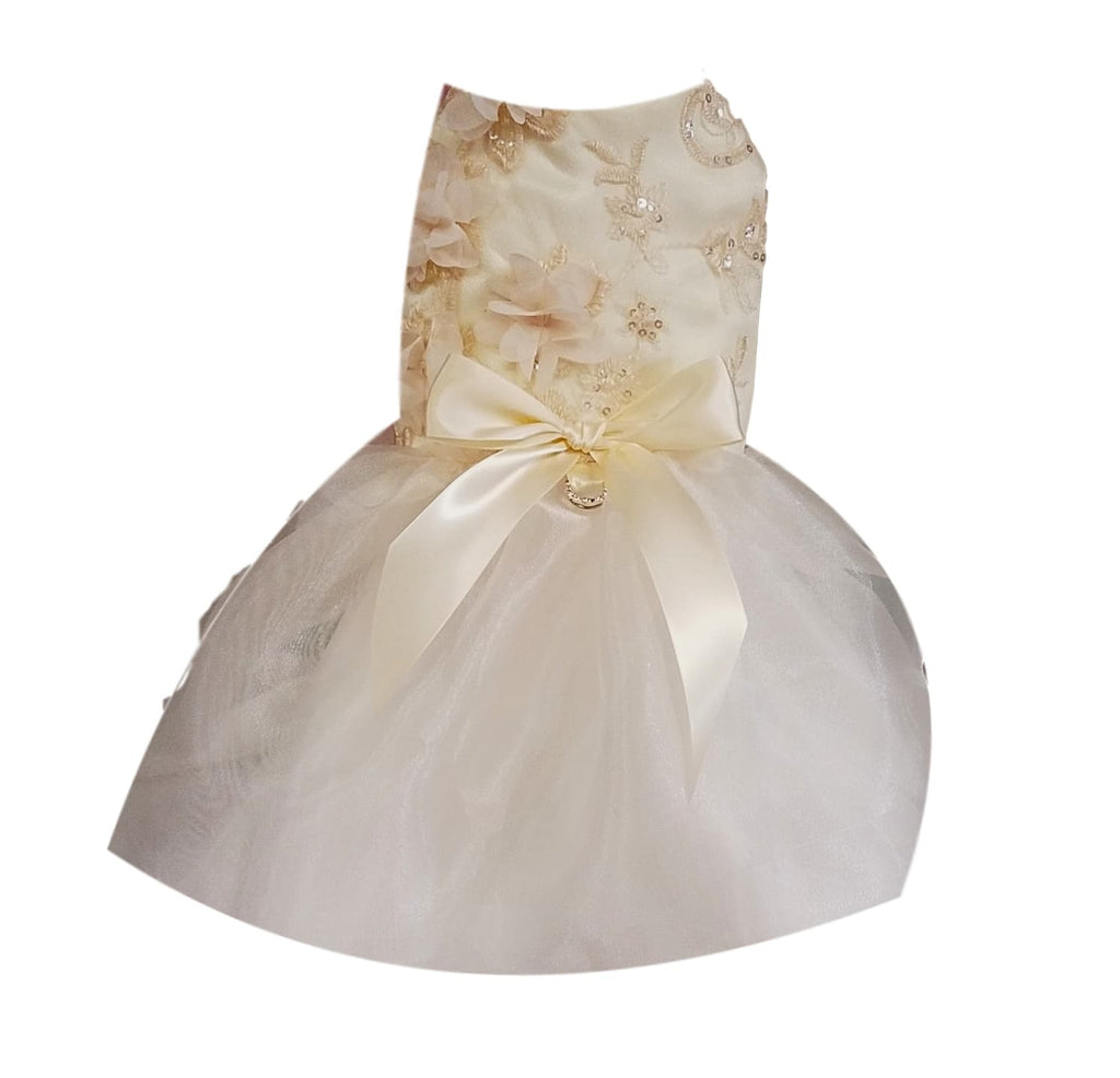 Ivory Satin with Organza