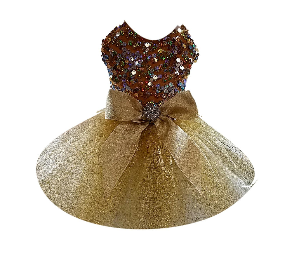Gold Sequins Tutu with Gold Full Tulle Skirt