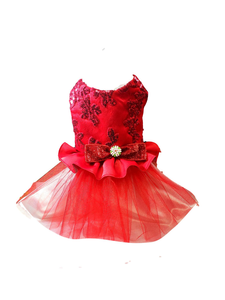 Red Satin and Sequence Christmas Dog Dress