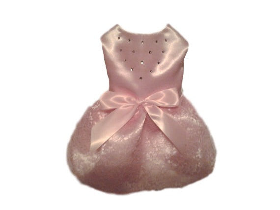 Pink Satin and Lace Dog Dress