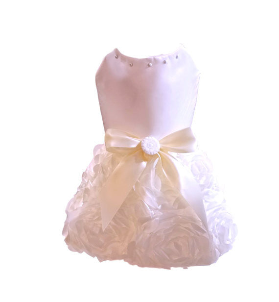 Ivory Satin with Rosette Skirt Dog Dress
