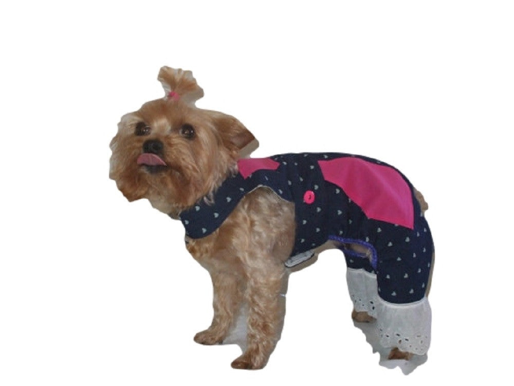 Denim Overalls with Hot Pink Pockets - Chic Doggie Boutique