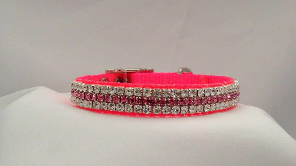 Hot Pink with Pink and Clear Crystals - Chic Doggie Boutique  - 1