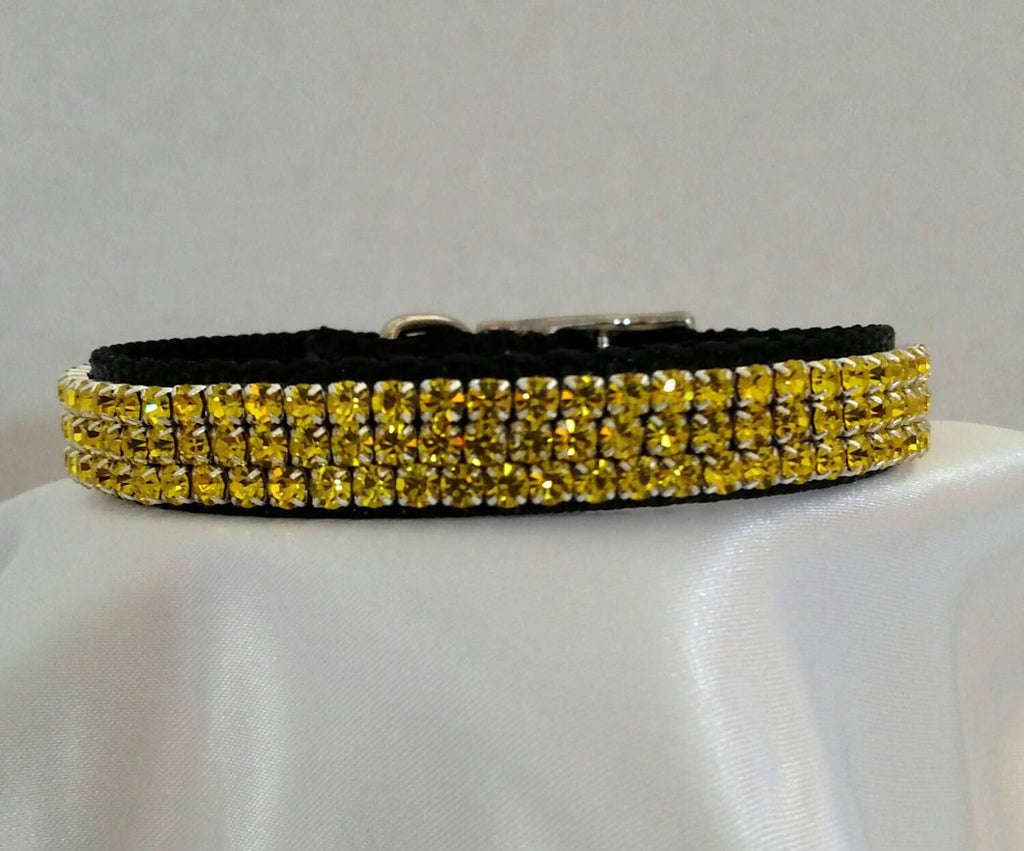 Black Collar with Gold Crystals - Chic Doggie Boutique  - 1