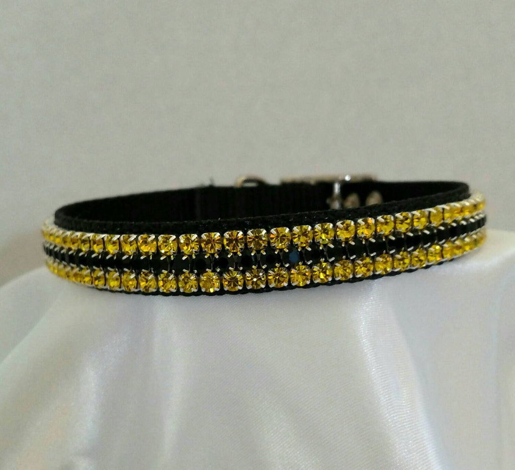 Black Collar with Gold and Black Crystals - Chic Doggie Boutique  - 1