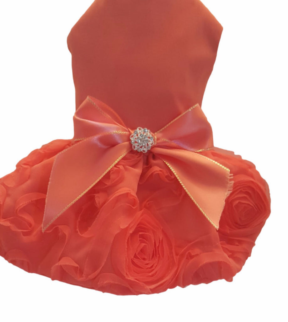 Orange Satin with Ruffled Skirt - Chic Doggie Boutique  - 1